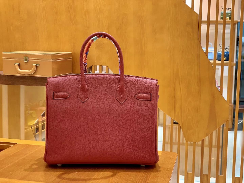 Hermès(爱马仕)Birkin 30cm 石榴红 银扣 德国进口togo 牛皮 全手工缝制