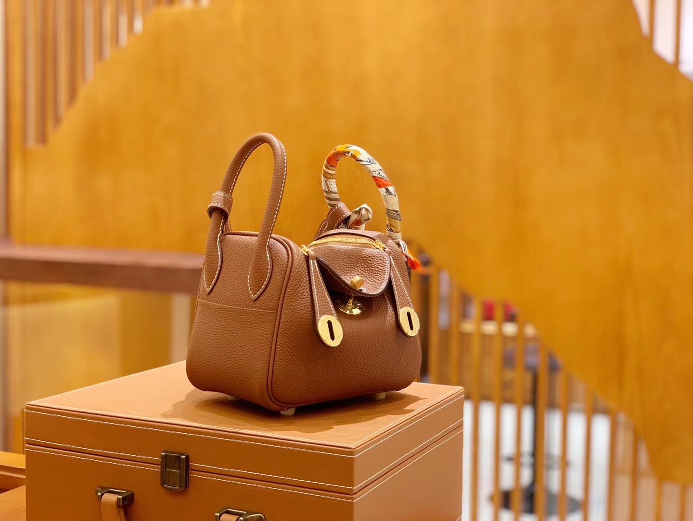 Hermès(爱马仕)Mini Lindy 18cm 金棕色 德国进口togo牛皮 全手工