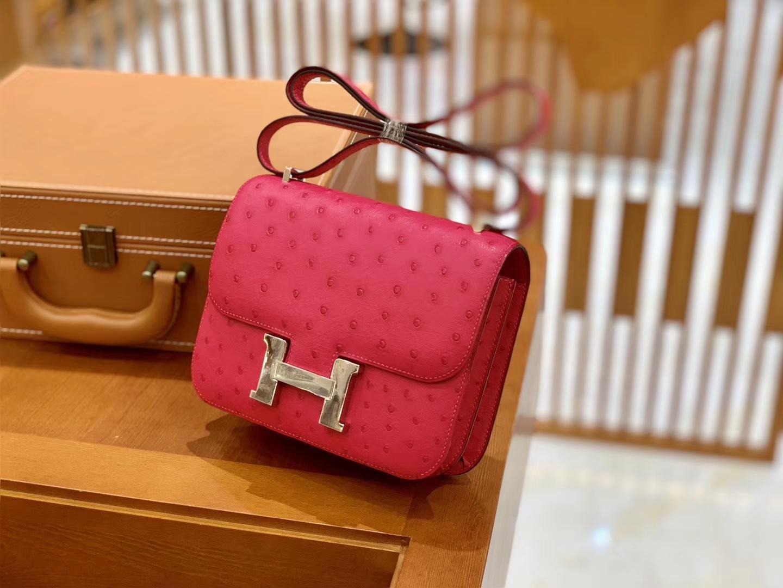 Hermès(爱马仕)Constance 18cm 糖果粉 玫红色 银扣 南非进口KK鸵鸟 全手工缝制