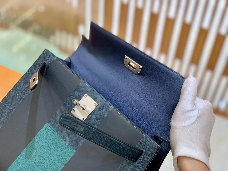 Hermès(爱马仕)Kelly 字母包 松柏绿 掌纹牛皮拼togo拼山羊 臻品级别 28cm