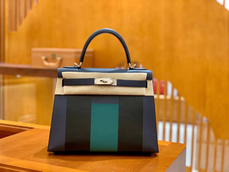 Hermès(爱马仕)Kelly 字母包 午夜蓝 掌纹牛皮拼togo拼山羊 臻品级别 28cm
