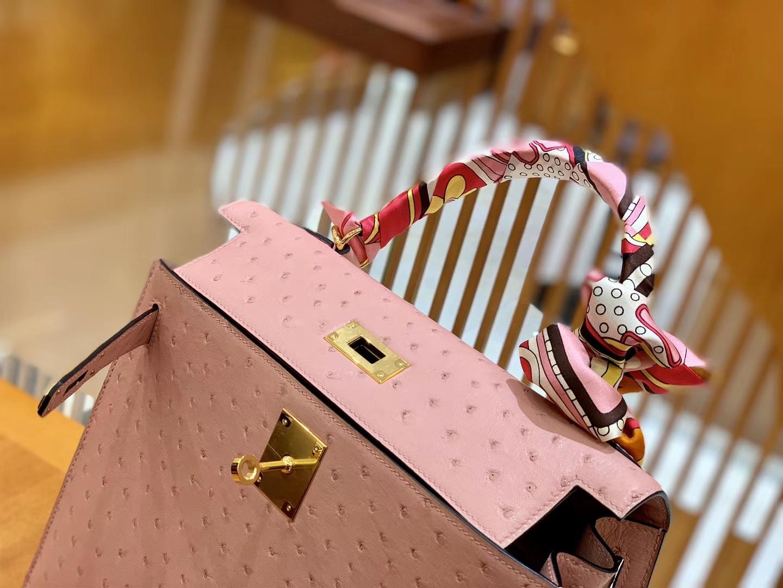 Hermès(爱马仕)Kelly 28cm 橡皮粉 金扣 南非进口 鸵鸟皮 全手工缝制