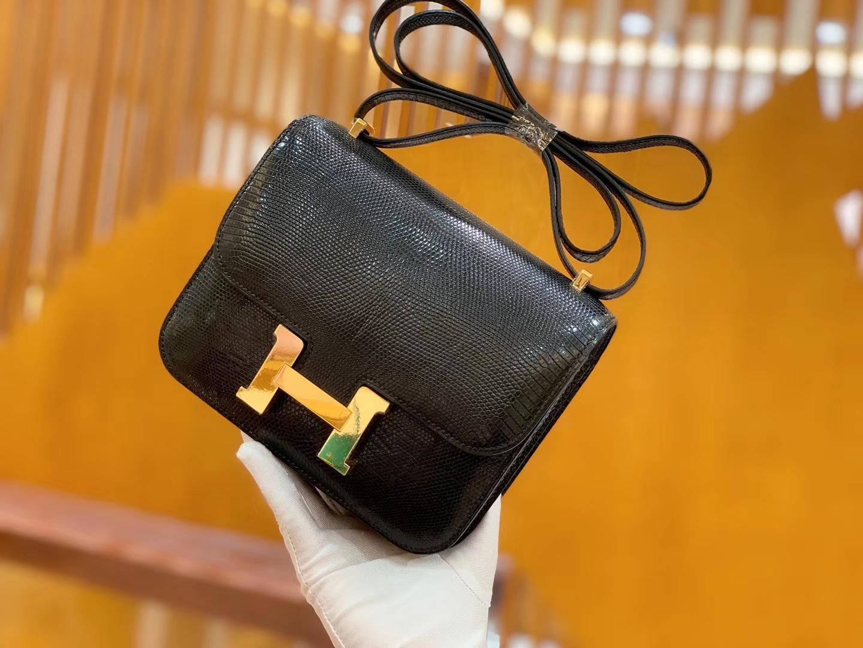 Hermès(爱马仕)Constance 18cm 经典黑 金扣 南非野生蜥蜴皮 全手工缝制