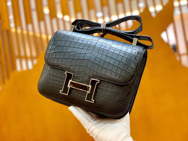 Hermès(爱马仕)Constance 空姐包 尼罗鳄鱼 康斯坦 黑珐琅 24cm