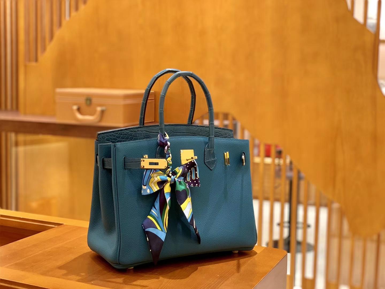 Hermès(爱马仕)Birkin 铂金包 祖母蓝 Touch 牛皮拼鳄鱼皮 金扣 25cm