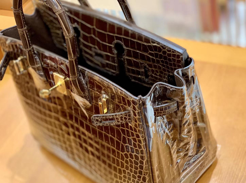 Hermès(爱马仕)Birkin 25cm 咖啡色 金扣 倒V湾鳄 臻品级别