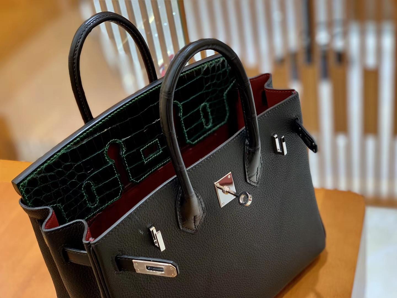 Hermès(爱马仕)Birkin 铂金包 经典黑 拼 祖母绿 Touch 牛皮拼鳄鱼皮 金扣 25cm