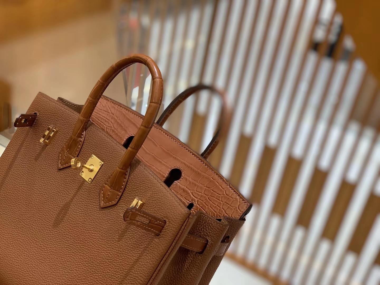 Hermès(爱马仕)Birkin 25cm 焦糖 金扣 哑光鳄鱼皮 拼小牛皮 新货