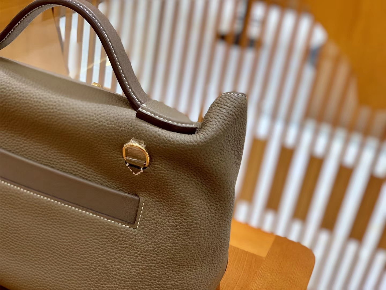 Hermès(爱马仕)Kelly-2424 斑鸠灰 原厂御用顶级小牛皮拼Swift皮 togo 金扣 29cm