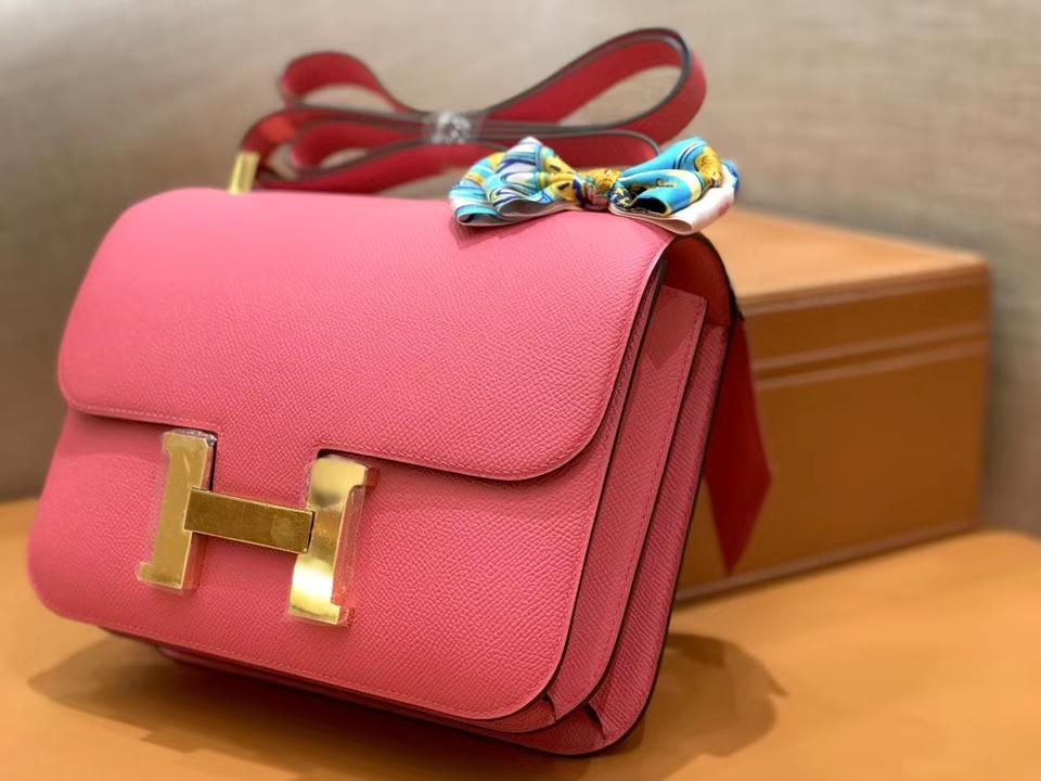 Hermès(爱马仕)康斯坦 Constance 空姐包 唇膏粉 德国进口牛皮 全手工缝制 金扣 24cm