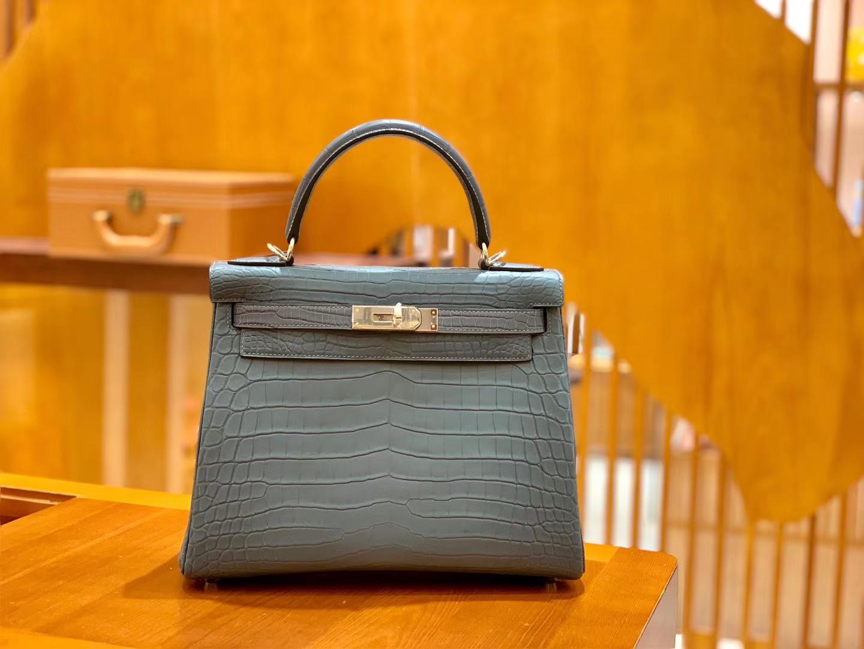 Hermès(爱马仕)Kelly 28cm 雾霾蓝 银扣 进口 哑光尼罗鳄鱼皮 全手工缝制