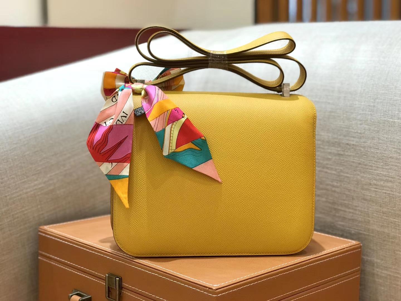 Hermès(爱马仕)康斯坦 Constance 空姐包 琥珀黄 德国进口牛皮 全手工缝制 银扣 24cm
