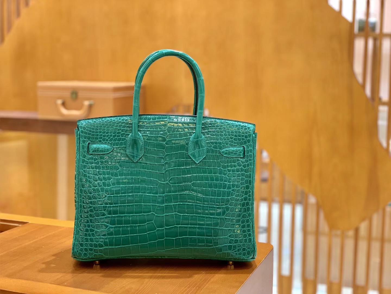 Hermès(爱马仕)Birkin 30 翡翠绿 金扣 湾鳄 一级皮