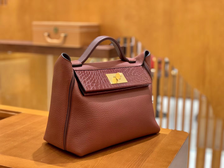Hermès(爱马仕)Kelly-2424 波尔多酒红 原厂御用顶级小牛皮拼鳄鱼皮 togo 金扣 29cm