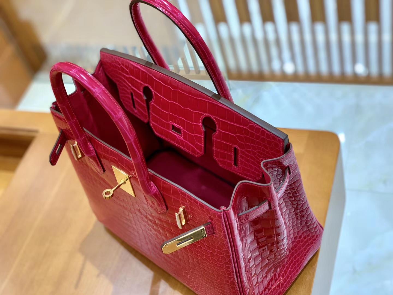 Hermès(爱马仕)Birkin 30 极致粉 金扣 湾鳄 一级皮 全手工缝制