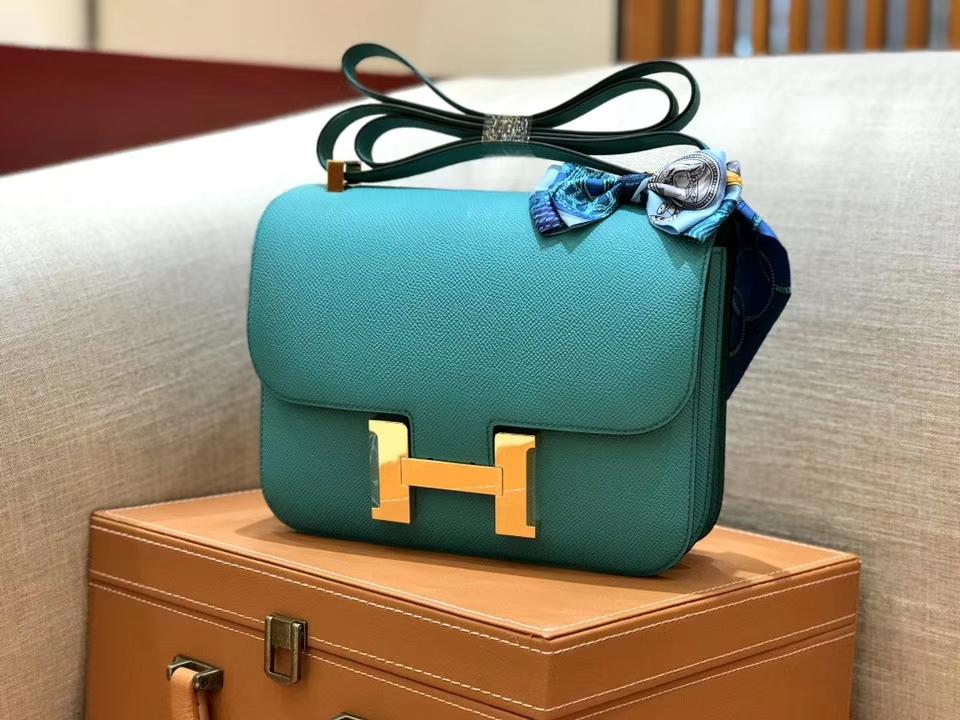 Hermès(爱马仕)康斯坦 Constance 空姐包 维罗纳绿 德国进口牛皮 全手工缝制 金扣 24cm