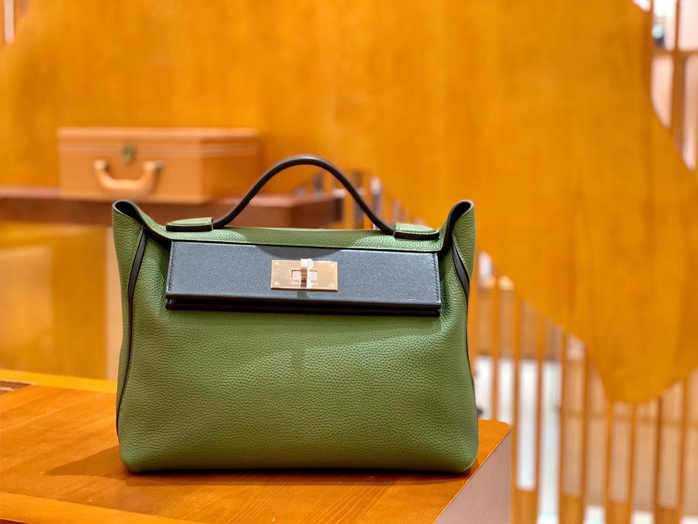 Hermès(爱马仕)Kelly-2424 森林绿拼黑色 原厂御用顶级小牛皮拼Swift皮 togo 金扣 29cm