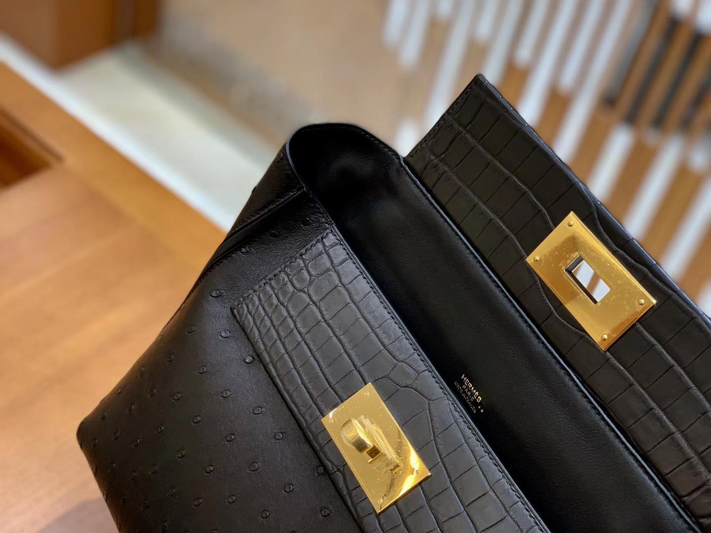 Hermès(爱马仕)Kelly-2424 黑色 鸵鸟皮拼鳄鱼皮 顶级手缝 金扣 29cm