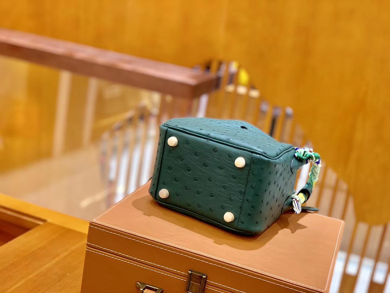 Hermès(爱马仕)Mini Lindy 18cm 孔雀绿 金扣 南非鸵鸟皮 全手工缝制