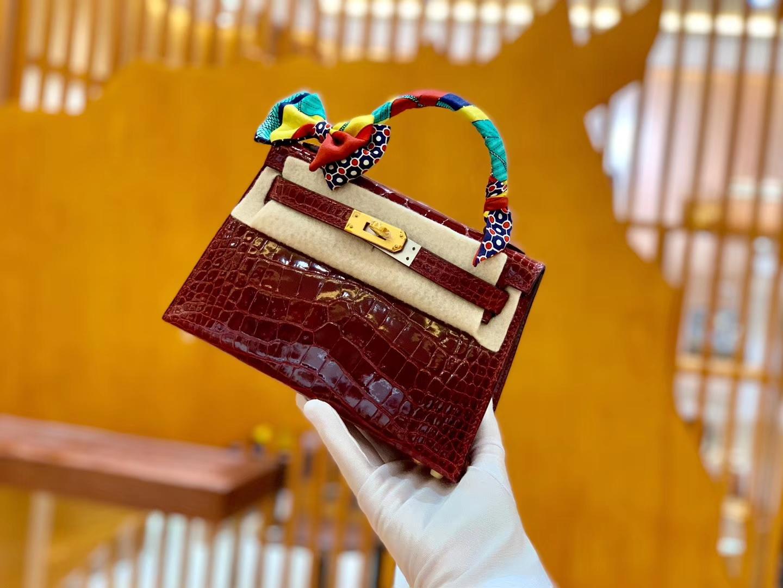 Hermès(爱马仕)Mini Kelly 19cm 波尔多酒红 金扣 一级 美洲 鳄鱼皮 臻品级别