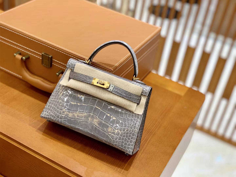 Hermès(爱马仕)Mini Kelly 19cm 巴黎灰 银扣 一级 美洲 鳄鱼皮 臻品级别