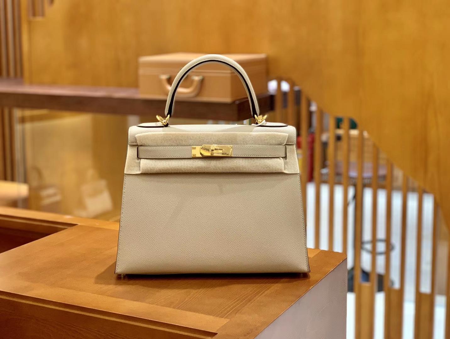 Hermès(爱马仕)Kelly 28cm 斑鸠灰 金扣 Epsom掌纹牛皮 全手工缝制 臻品级别