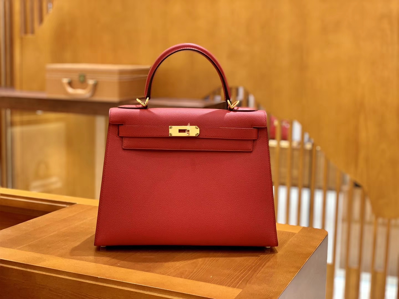 Hermès(爱马仕)Kelly 28cm 中国红 金扣 Epsom掌纹牛皮 全手工缝制 臻品级别