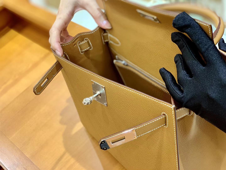 Hermès(爱马仕)Kelly 28cm 金棕色 银扣 Epsom掌纹牛皮 全手工缝制 臻品级别