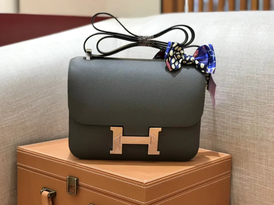 Hermès(爱马仕)康斯坦 Constance 空姐包 锡器灰 德国进口牛皮 全手工缝制 银扣 24cm
