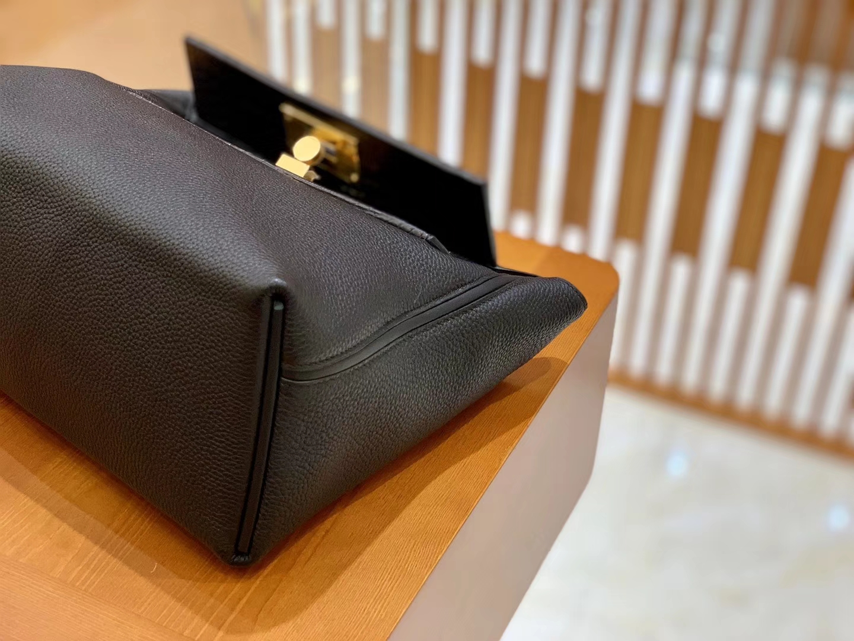 Hermès(爱马仕)Kelly-2424 黑色 原厂御用顶级小牛皮拼鳄鱼皮 togo 金扣 29cm