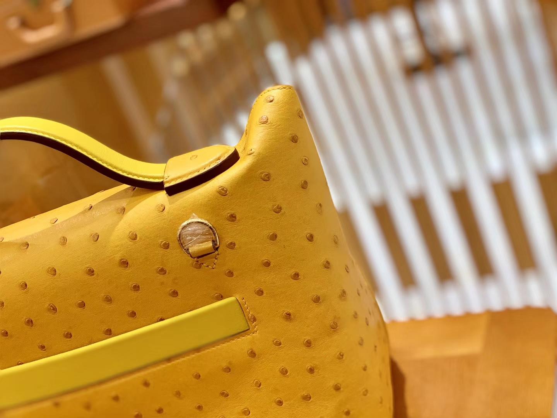 Hermès(爱马仕)Kelly-2424 琥珀黄 鸵鸟皮拼鳄鱼皮 顶级手缝 金扣 29cm