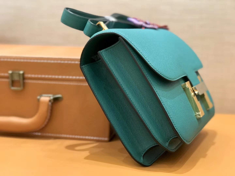 Hermès(爱马仕)康斯坦 Constance 空姐包 孔雀绿 德国进口牛皮 全手工缝制 金扣 24cm