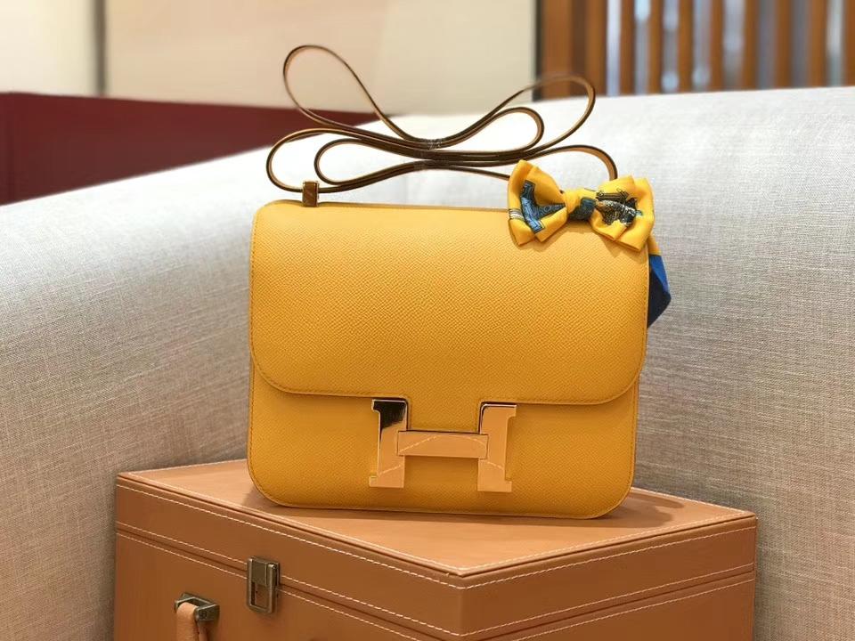 Hermès(爱马仕)康斯坦 Constance 空姐包 太阳黄 德国进口牛皮 全手工缝制 金扣 24cm