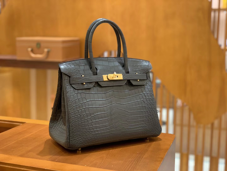 Hermès(爱马仕)Birkin 30cm 铁灰色 金扣 进口 哑光尼罗鳄鱼皮 全手工缝制