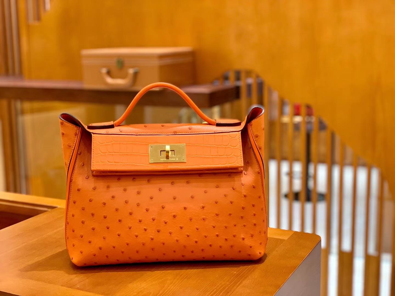 Hermès(爱马仕)Kelly-2424 橙色 鸵鸟皮拼鳄鱼皮 顶级手缝 金扣 29cm