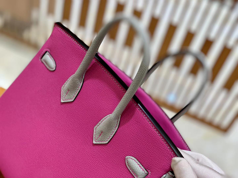 Hermès(爱马仕)Birkin 25cn 玉兰粉拼海鸥灰 掌纹牛皮 高定版本 鳄鱼皮工序