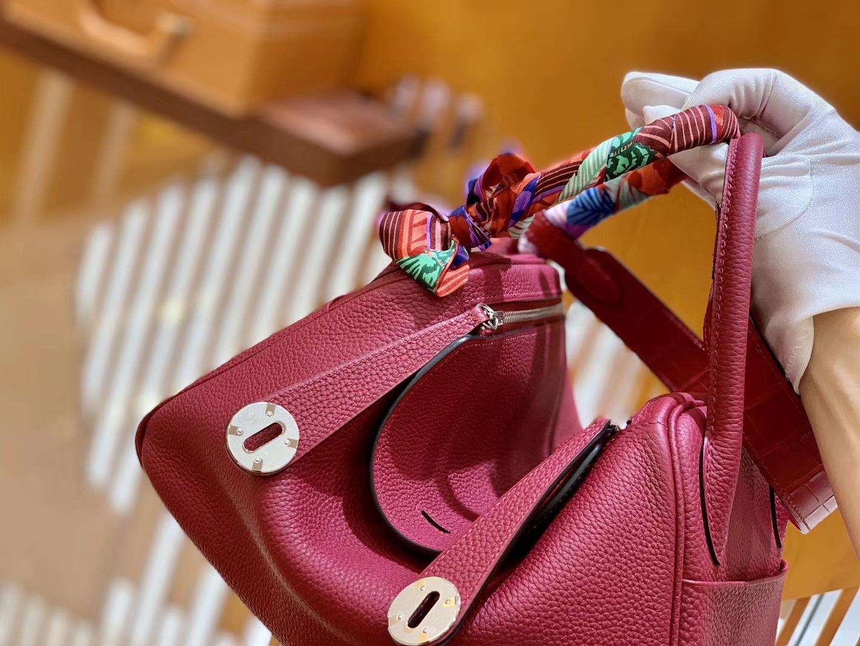 Hermès(爱马仕)Lindy 26cm 石榴红 金扣 鳄鱼皮拼togo 全手工缝制