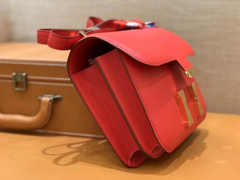 Hermès(爱马仕)康斯坦 Constance 空姐包 番茄红 德国进口牛皮 全手工缝制 金扣 24cm