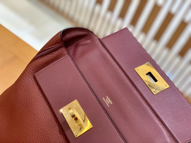 Hermès(爱马仕)Kelly-2424 波尔多酒红 原厂御用顶级小牛皮拼Swift皮 togo 金扣 29cm