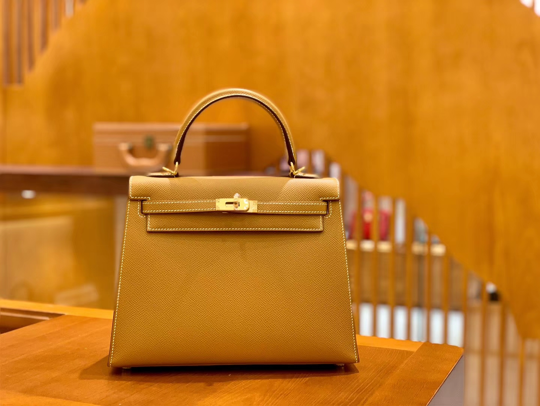 Hermès(爱马仕)Kelly 28cm 金棕色 金扣 Epsom掌纹牛皮 全手工缝制 臻品级别