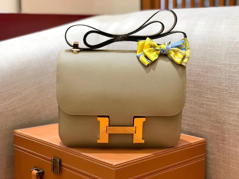 Hermès(爱马仕)康斯坦 Constance 空姐包 风衣灰 德国进口牛皮 全手工缝制 金扣 24cm