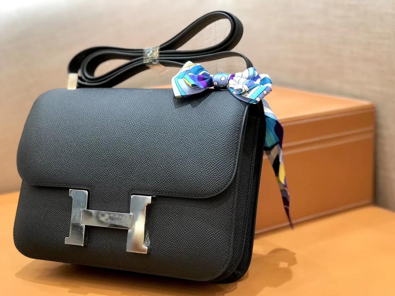 Hermès(爱马仕)康斯坦 Constance 空姐包 经典黑 德国进口牛皮 全手工缝制 银扣 24cm
