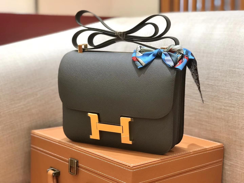 Hermès(爱马仕)康斯坦 Constance 空姐包 锡器灰 德国进口牛皮 全手工缝制 金扣 24cm