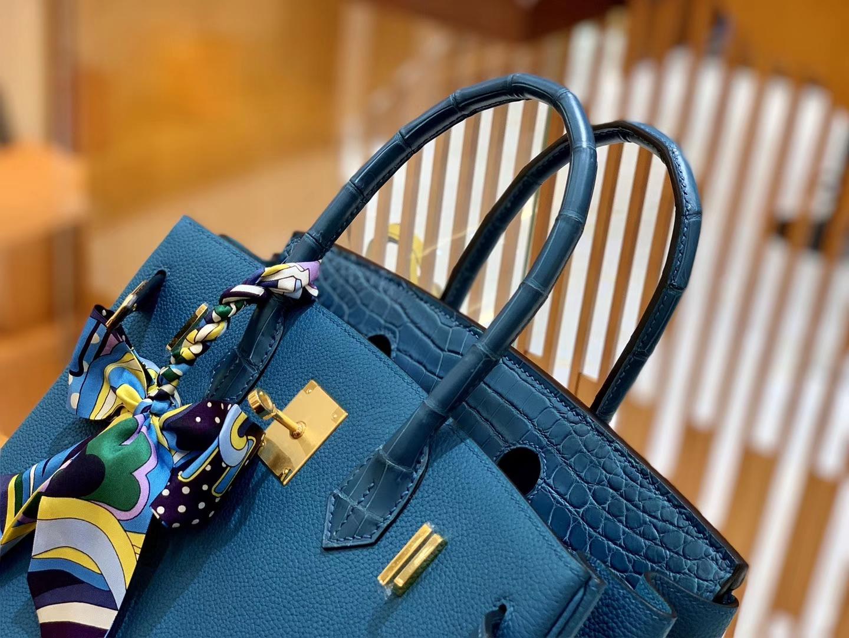 Hermès(爱马仕)Birkin 铂金包 祖母蓝 Touch 鳄鱼皮拼牛皮 金扣 30cm