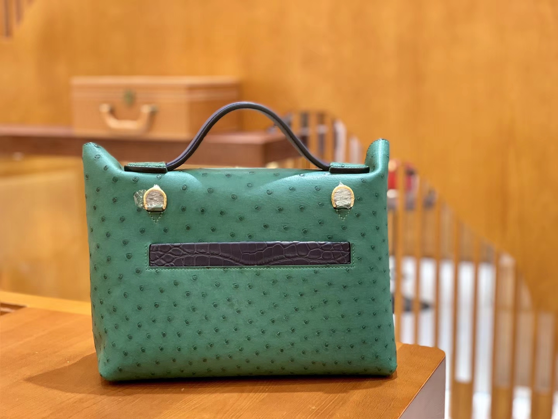 Hermès(爱马仕)Kelly-2424 孔雀绿拼黑色 鸵鸟皮拼鳄鱼皮 顶级手缝 金扣 29cm