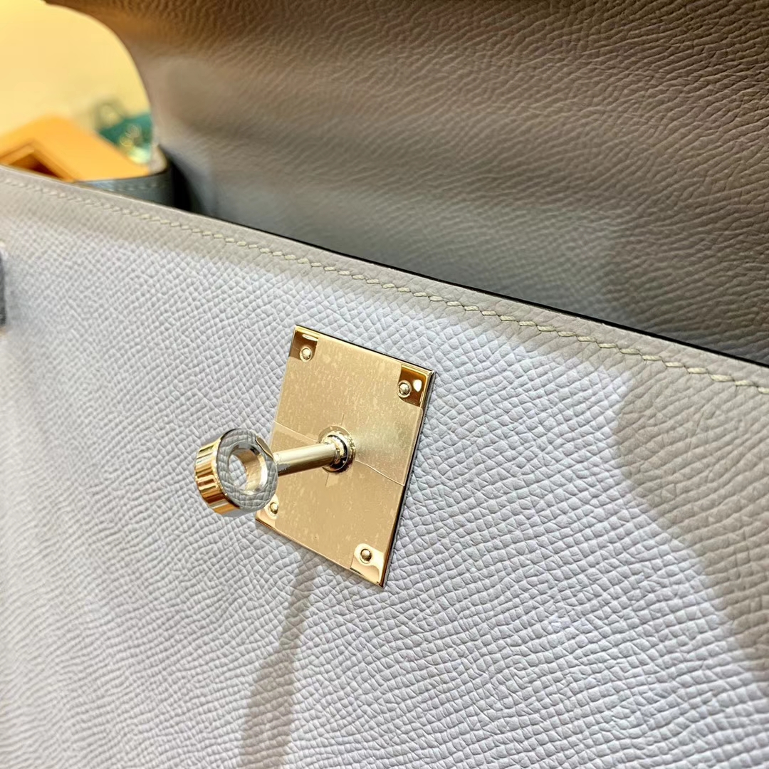Hermès(爱马仕)Kelly 28cm 冰川蓝 金扣 Epsom掌纹牛皮 全手工缝制 臻品级别