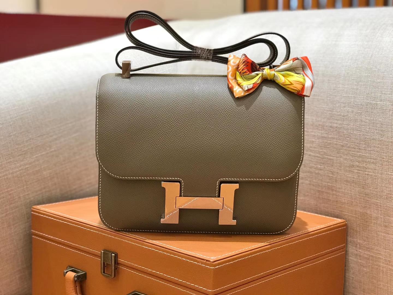 Hermès(爱马仕)康斯坦 Constance 空姐包 大象灰 德国进口牛皮 全手工缝制 银扣 24cm