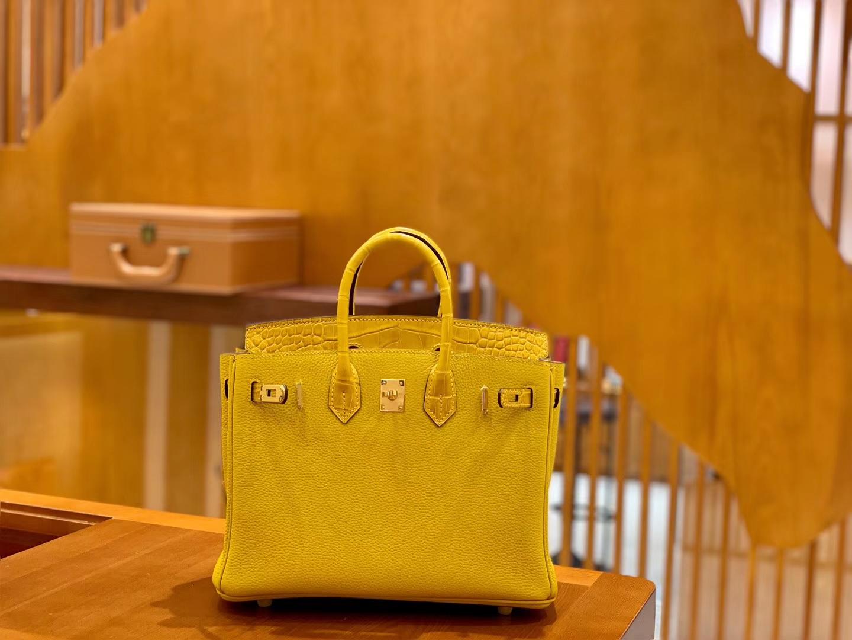 Hermès(爱马仕)Birkin 25cm Touch 系列 鳄鱼皮拼牛皮 琥珀黄 全手工缝制