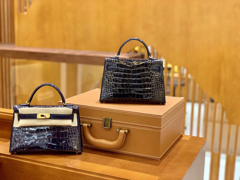 Hermès(爱马仕)Mini Kelly 19cm 午夜蓝 银扣 一级 美洲 鳄鱼皮 臻品级别