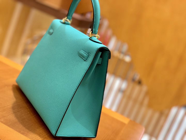 Hermès(爱马仕)Kelly 28cm 维罗纳绿 金扣 Epsom掌纹牛皮 全手工缝制 臻品级别